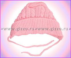 Шапочка шерстяная на завязках 12052 розовая