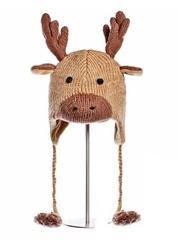 Шапка детская «Олененок», бежево-коричневая, АК1229