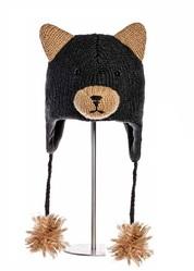 Шапка детская «Медвежонок», черная, АК1379