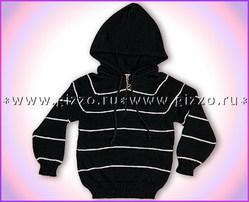 Джемпер шерстяной с капюшоном д/м 12753 черный